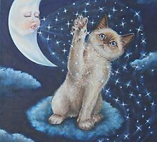 Whimsical Cat Art - Playing with the Moon by AlessandraArt