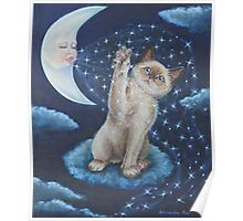 Whimsical Cat Art - Playing with the Moon Poster