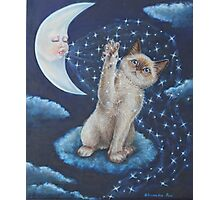 Whimsical Cat Art - Playing with the Moon Photographic Print