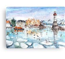 Lindau Harbour On Lake Constance Canvas Print