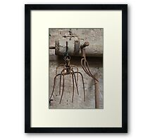 old pitchfork for hay Framed Print