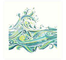 Crashing Wave Tangle - White Art Print