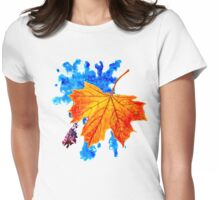 maple leaf on the blue blot Womens Fitted T-Shirt