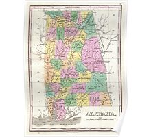 Vintage Map of Alabama (1827) Poster