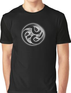 Tomoe, Japanese, Shinto symbol, 3D Blend, ON BLACK Graphic T-Shirt