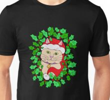 Cute Cat in a Christmas Hat with Holly Unisex T-Shirt