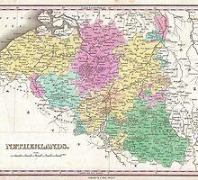Vintage Map of Belgium (1827)  by BravuraMedia