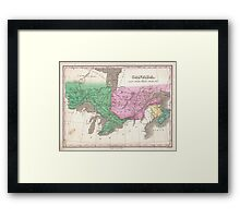 Vintage Map of Ontario and Quebec (1827) Framed Print