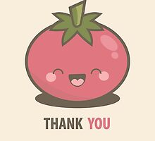 Happy Kawaii Tomato Thank You Card by Lisa Marie Robinson