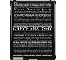 Grey's Anatomy - typography quotes (black) iPad Case/Skin