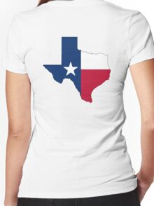 TEXAS, TEXAS FLAG, STATE OUTLINE, America, American, USA, US Women's Fitted V-Neck T-Shirt