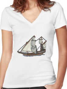 Clipper Ship Women's Fitted V-Neck T-Shirt