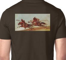 War on the plains. Indian Warriors, Comanche, Osage, warrior. Painting, George Catlin, 1834 Unisex T-Shirt