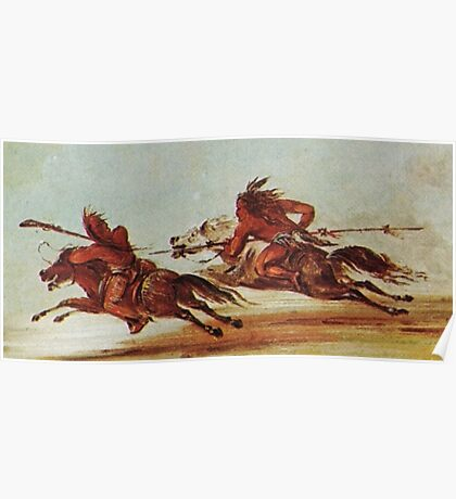WILD WEST, War on the plains, Indian, Warriors, Comanche, Osage, warrior. Painting, George Catlin, 1834 Poster