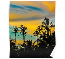 Tropical Scene at Sunset Time Poster