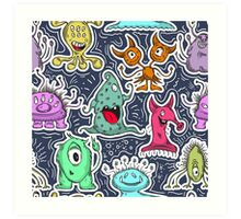 Seamless pattern with cute monsters.  Art Print