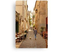 Walking the Dog in Montmartre Paris France Canvas Print