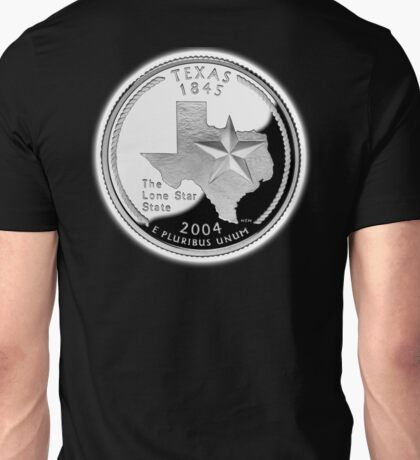 Texas, quarter, dollar, coin, 1845, 2004, State of Texas, American, America, USA, US Unisex T-Shirt
