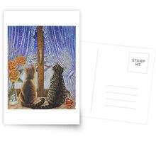 Cat Art - Cats Watching the Snow Fall Postcards