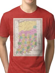 Vintage Map of Indiana (1827) Tri-blend T-Shirt