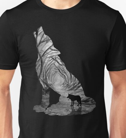 Wild Forest Wolf - Black and White Unisex T-Shirt