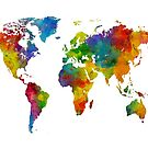 Map of the World Map Watercolor by Michael Tompsett