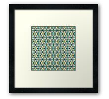 Hand Drawn Geometric Triangle Pattern - Green and Yellow Framed Print