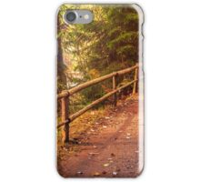footpath in autumn coniferous forest iPhone Case/Skin