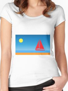 Sunset Sailboat Women's Fitted Scoop T-Shirt