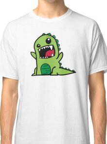 Cartoon comic dino dinosaur green Classic T-Shirt