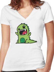 Cartoon comic dino dinosaur green Women's Fitted V-Neck T-Shirt