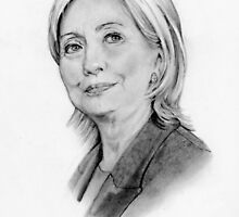 Hillary Clinton Pencil Portrait, Original Art by Joyce Geleynse
