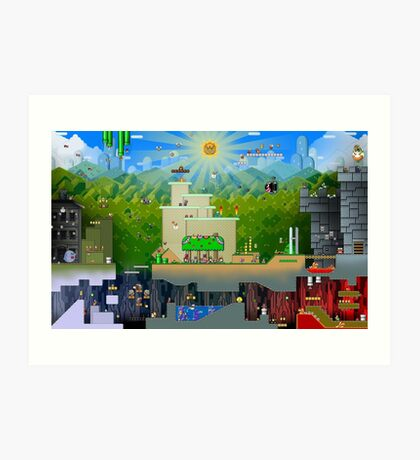 Super Mario World Background Art Print