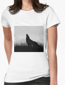 Wolf in mountains Womens Fitted T-Shirt