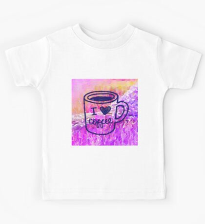 """water color,hand painted,i """"heart""""coffee.pink,purple,orange,lavender,coffee cup,typography,cool text,modern,trendy Kids Tee"""