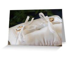 pillow with wedding rings Greeting Card