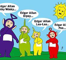 Teletubbies Edgar Allan Poe Card by mjfouldes