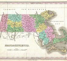 Vintage Map of Massachusetts (1827) by BravuraMedia