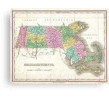 Vintage Map of Massachusetts (1827) Canvas Print