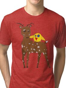 Diego the Deer and Yellow Bird Tri-blend T-Shirt
