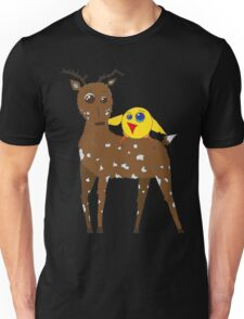 Diego the Deer and Yellow Bird Unisex T-Shirt