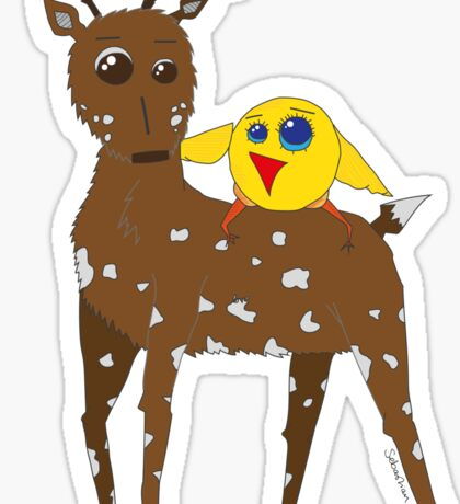 Diego the Deer and Yellow Bird Sticker