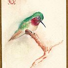KOTORI - Hummingbird Watercolor Painting by Rebecca Rees by Rebecca Rees