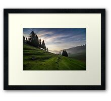 fir trees on meadow between hillsides in fog before sunrise Framed Print