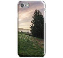 fir trees on  hillside meadow in fog before sunrise iPhone Case/Skin