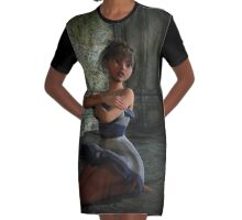 Scared Doll Graphic T-Shirt Dress