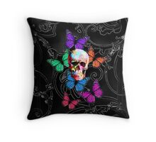 Sugar skull and colored butterflies Throw Pillow