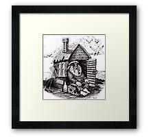 Old retired pirate black and white pen ink drawing Framed Print