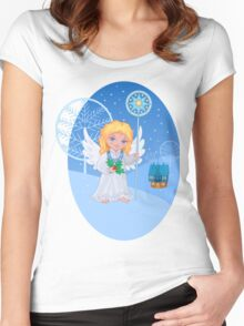 Christmas cute cartoon angel with blue star staff Women's Fitted Scoop T-Shirt
