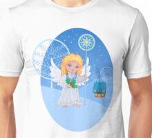 Christmas cute cartoon angel with blue star staff Unisex T-Shirt